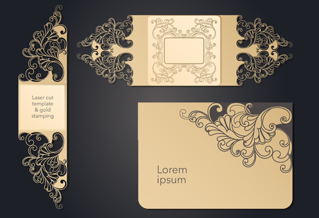 Template for laser cutting. Openwork layout of the festive envelope, a postcard for your text, a label, a note in the flowers. Wedding, romantic party, date, gift