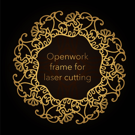 Template gold frame in the vector for laser cutting. Unique decorative ornaments for greeting cards, wedding invitations, save the date with space for your text. Vintage frame, antique cover  イラスト・ベクター素材