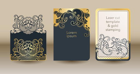 A set of openwork templates for laser cutting and engraving. Wedding invitation mock up cover, envelope, pocket for cards, greeting cards, invitations, menus