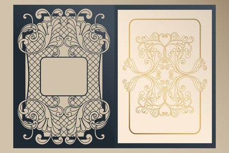 A4 openwork cover for laser cutting. Unique congratulatory folder and leaf liner with gold ornaments for greetings, wedding invitations, save the date. Vintage frame, antique cover Vector Illustratie