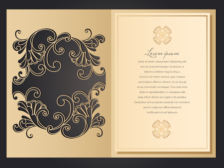 Laser cut wedding invitation template with lace pattern in vintage style. Envelope with ornate abstract ornament for greeting card. Openwork vector silhouette