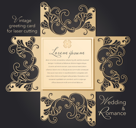 Laser cut wedding invitation template with lace pattern in vintage style. Envelope with ornate abstract ornament for greeting card. Openwork vector silhouette 版權商用圖片 - 124507111
