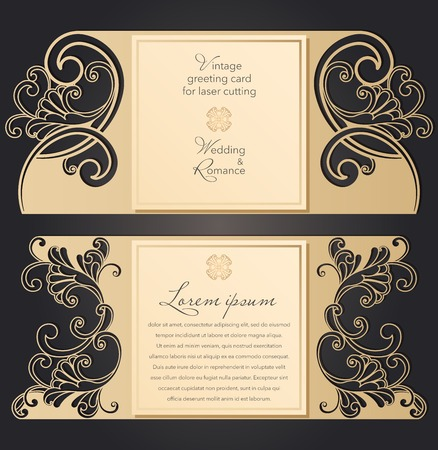 Laser cut wedding invitation template with lace pattern in vintage style. Envelope with ornate abstract ornament for greeting card. Openwork vector silhouette.