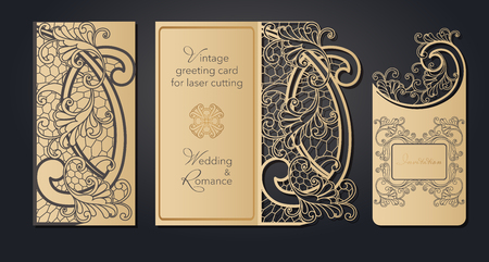 Template greeting card for laser cutting. Openwork cut from paper, cardboard for wedding, Easter, birthday. Spring pattern for a gift, romantic party