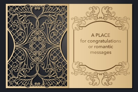 Design letterhead greetings for laser paper cutting. Openwork cartouche on the cover. Decorative frame for the decoration of festive text. Blank invitation form, menu, message for wedding, party, event. Vector illustration. Ilustração
