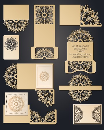 A set of carved wedding envelopes, pockets for laser cutting. Pocket for congratulations, invitations, wedding cards, party, romantic date. Festive set of openwork lace patterns for cutting paper and woodcarving