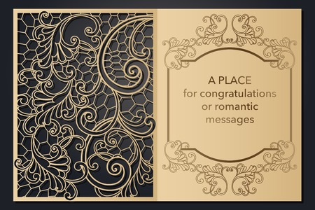 Design letterhead greetings for laser paper cutting. Openwork cartouche on the cover. Decorative frame for the decoration of festive text. Blank invitation form, menu, message for wedding, party, event. Vector illustration Çizim