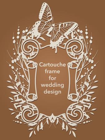 Flower frame cartouche for laser cutting. Vintage leaf border, antique style whirlwind, decorative element design for wedding and festive design. Label, card, invitation, decoration, envelope, cover, album
