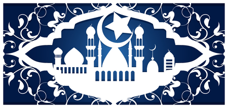 Ramadan kareem, laser cutting template. Greeting card, invitation, cover for an Arab religious holiday. Openwork carved design in Islamic style. Vector illustration