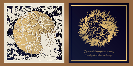 Envelope design, invitations for laser paper cutting. Square pocket with a floral pattern, an openwork frame and a gold-embossed card for wedding, festive, greeting polygraphy Ilustrace