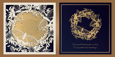 Envelope design, invitations for laser paper cutting. Square pocket with a floral pattern, an openwork frame and a gold-embossed card for wedding, festive, greeting polygraphy Illustration