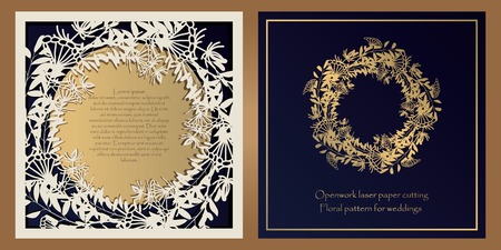 Envelope design, invitations for laser paper cutting. Square pocket with a floral pattern, an openwork frame and a gold-embossed card for wedding, festive, greeting polygraphy. Illustration
