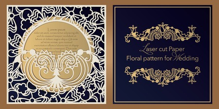 Laser cut paper for weddings. Floral design envelope, invitation, badge, square frame for gift and congratulations. Openwork cut of paper, cardboard, wood, plastic Ilustracja