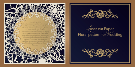 Laser cut paper for weddings. Floral design envelope, invitation, badge, square frame for gift and congratulations. Openwork cut of paper, cardboard, wood, plastic