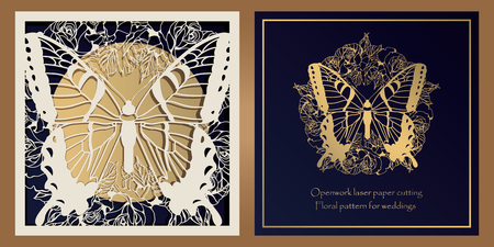 Envelope design, invitations for laser paper cutting. Square pocket with a floral pattern, an openwork frame and a gold-embossed card for wedding, festive, greeting polygraphy Vetores