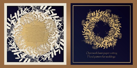Envelope design, invitations for laser paper cutting. Square pocket with a floral pattern, an openwork frame and a gold-embossed card for wedding, festive, greeting polygraphy. Ilustrace