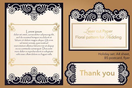 Laser cutting paper for weddings. Flower design for A4 letterhead, envelope, cover, folder, invitation, square frame for writing and greetings. Openwork cut paper for paper, cardboard. Place for text