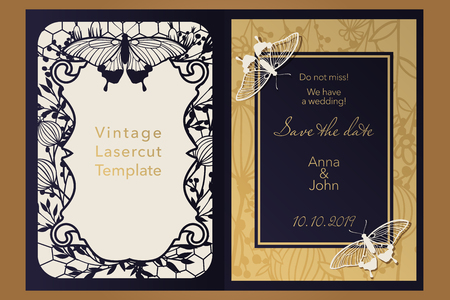 Laser cutting paper for weddings. Floral design envelope, covers, folders, invitation, save the date, square frame for gift and congratulations. Openwork cut of paper, cardboard, wood, plastic