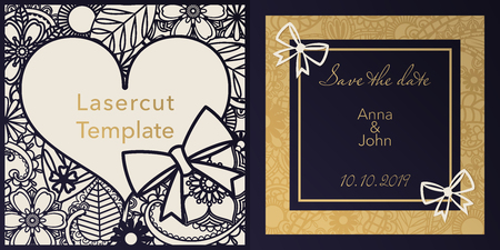 Envelope design, invitations for laser paper cutting. Square pocket with a floral pattern, an openwork frame and gold embossed Greeting card for a wedding, festival, greeting printing