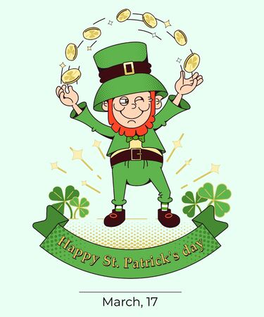 Irish cultural holiday St. Patrick s Day.Vector illustration, vertical poster in flat style.