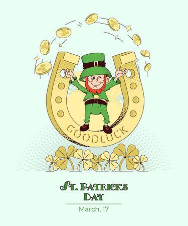 Irish cultural holiday St. Patrick s Day.Vector illustration, vertical poster in flat style Illusztráció