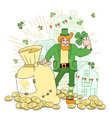 Affiche pour la fête irlandaise de la Saint-Patrick. Un symbole traditionnel des festivités en Irlande. Illustration vectorielle pour la conception de cartes, invitations, félicitations, bannières, pages dans un style plat Vecteurs