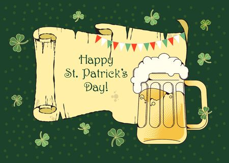 Horizontal poster with St. Patrick s Day. Illustration for creating cards, greetings, invitations, tags, banners, landing pages. Design in a flat style Archivio Fotografico - 138069191