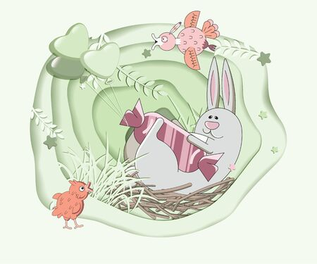 Easter card in cartoon style. Symbols of the Christian holiday. Vector design for invitations, greetings, posters.