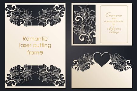 Set paper lace greeting card, wedding invitation, white pattern, cut-out template, template congratulation, perforation pattern, laser cutting template, vector