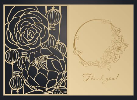 Greeting card with floral pattern. Laser cutting template, papercut, openwork design, contour drawing. Ilustración de vector