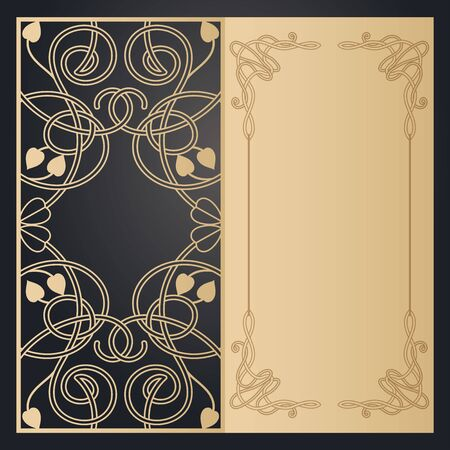 Greeting card with transparent Celtic ornament, template for laser cutting. Wedding and holiday design. Vector clipart