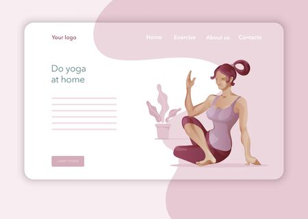 Creative website template designs for Yoga Studio. Modern flat design concept of web page design. Yoga exercise, Woman in yoga pose. Vector illustration.