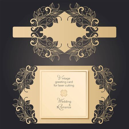 Envelope and postcard, template for laser cutting. Wedding and holiday design. Vector clipart Illustration