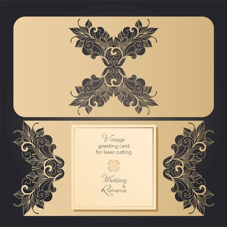 Envelope and postcard, template for laser cutting. Wedding and holiday design. Vector clipart. Illustration