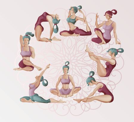 Woman doing yoga, at home, online. Vector clipart digital painting