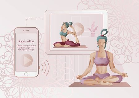 Woman doing yoga, at home, online. Vector clipart, digital painting. Illustration