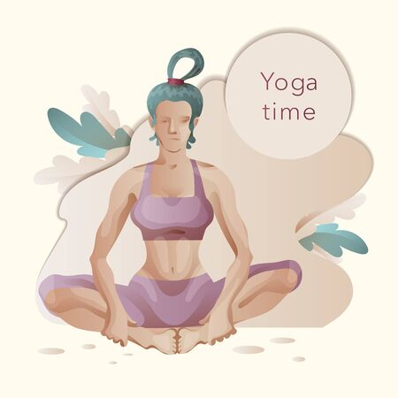 Woman in yoga pose. Template for the design of banner, poster, web page. Vector clipart