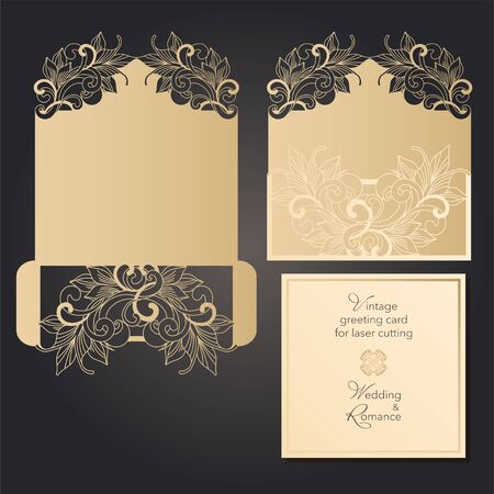 Envelope and postcard, template for laser cutting. Wedding and holiday design. Vector clipart Ilustrace