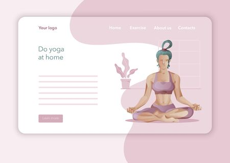 Creative website template designs for Yoga Studio. Modern flat design concept of web page design. Yoga exercise, Woman in yoga pose. Vector illustration