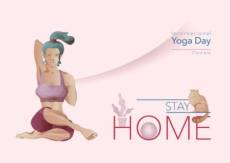 Yoga at home, Woman in yoga pose, stay at home. Yoga, fitness, stretching online class. COVID-19 virus outbreak, social distancing, sport exercise at Home. Flat cartoon vector illustration Illustration