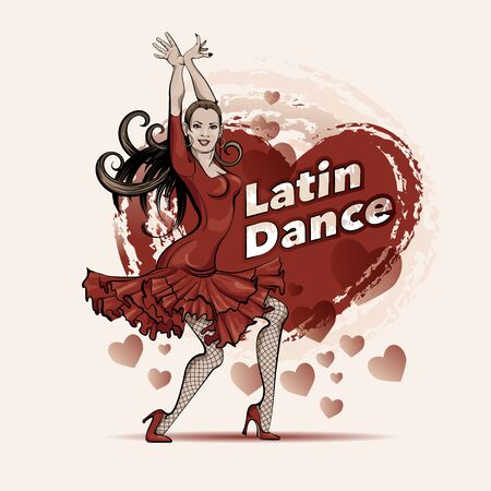 Poster for a Latin dance party. Woman in red dress is dancing salsa .Vector sketch drawing Vektorgrafik