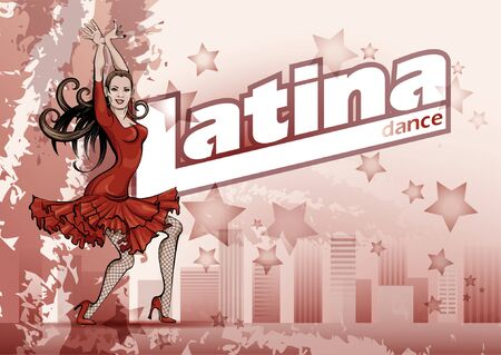 Poster for a Latin dance party. Woman in red dress is dancing salsa .Vector sketch drawing Illustration