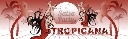 Woman dancing salsa, mamba. Banner, poster for a Latin dance club, carnival, party. Girl in a red dress. Vector sketch style