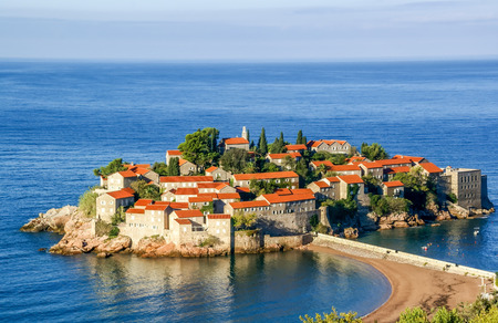 Sveti Stefan small islet in Montenegro photo
