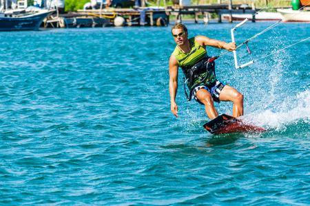 kiting: Enjoying kiting in the sea