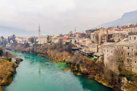 mostar: View from the old Bridge in Mostar,Bosnia and Herzegovina