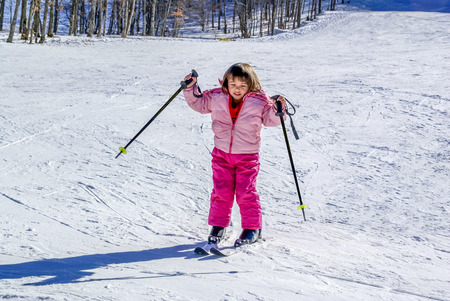 three year old: Three year old girl is skiing for the first time Stock Photo