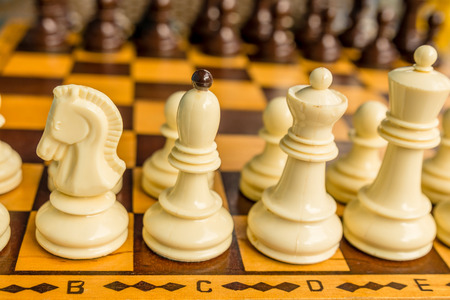 chess board: Chess board with starting positions aligned chess pieces