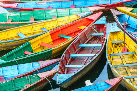 Rowing boats on the lake in Pokhara Nepal Stock Photo