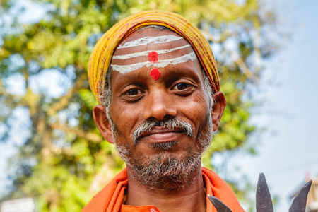 Indian Men with painted forehead in Pokhara